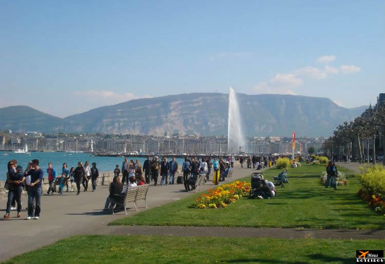 Genebra: vista do lado e do Monte Selève