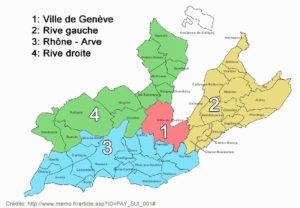 Mapa do cantão de Genebra