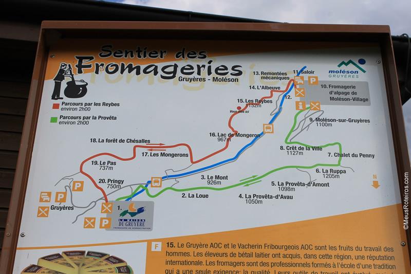 Mapa da trilha do Sentier des Fromageries
