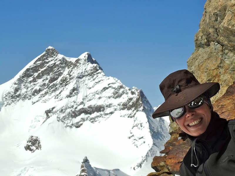 Paradinha para tirar foto com a montanha Jungfrau ao fundo
