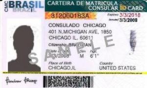 Modelo da CMC emitida no Consulado em Chicago