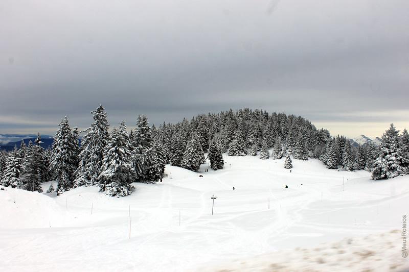 Paisagem com neve e árvores (Plateau Le Semnoz / Haute Savoie / França)