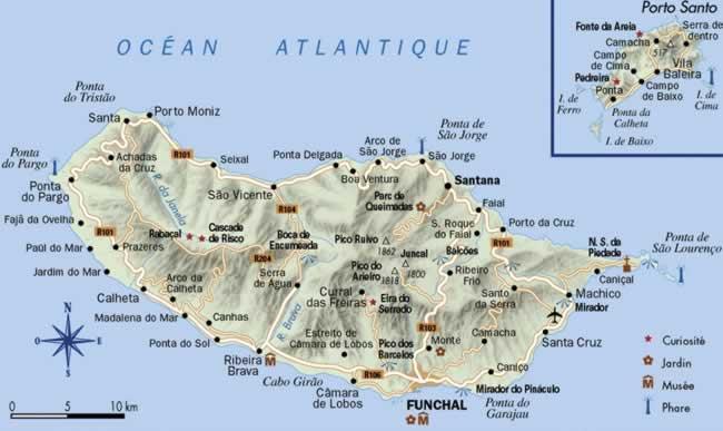 Mapa do Arquipélago da Madeira (Ilha da Madeira e Porto Santo)